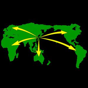 日本から海外へ貿易していることを表す画像